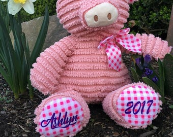 Personalized Easter gift, Personalized Pig, Birthday Pig, Pink pig, Corduroy pig, stuffed animal, Personalized animal, Stuffed pig