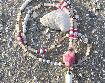 Rose quartz, Howlite, Agate and Garnet necklace with acrylic horn accent and 108 beads