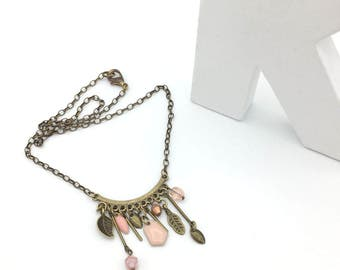 Pale pink and bronze boho necklace