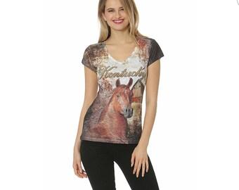 Kentucky T-shirt, Kentucky Horse and Barn Tee, Women's T-shirt, Women's shirt, Kentucky v-neck t-shirt