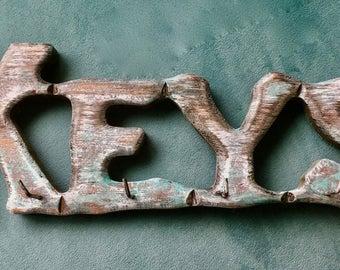 Rustic Distressed Wooden Key Hook