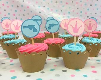 Gender Reveal Baby Shower Party Picks - Guns or Glitter - Cupcake toppers - Cake Picks - Guns or Crowns