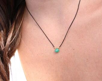 Emerald Necklace-Nylon Necklace-Emerald Pendant Necklace-Genuine Green Emerald-Dainty Emerald Necklace-May Birthstone-Green Emerald pendant
