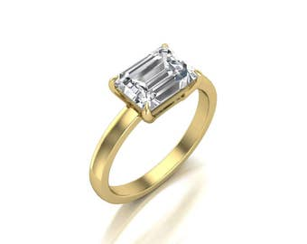 1.75ct Emerald Cut Moissanite Engagement Ring - Forever One Moissanite Engagement Ring - Charles & Colvard 8x6mm Moissanite Solitaire Ring