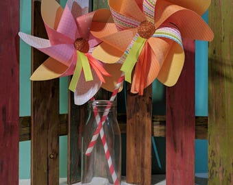 Six Pink and Orange Summer Paper Pinwheels w/ Ribbons! Perfect for Centerpieces, Birthday Parties, Gift Bags, Home Decor, and More! (Set #8)