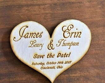 Rustic Save the Date Magnet, Wooden Save the Date Magnet, Engraved Save the Date, Save the Dates, Heart Shaped Save the Date, wedding idea