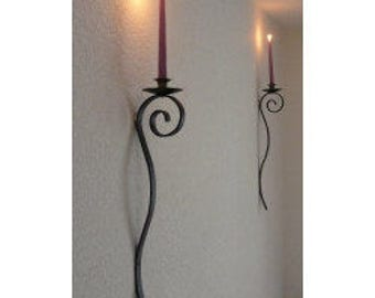 Hand Crafted Wrought Iron Wall candle holder.