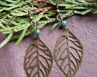 Boho, Leaf,Turquoise,Green,Antique Brass Leaf, Bronze,Picasso Bead,Brass,E017,*FREE SHIPPING