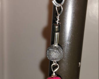 Pink Skull and Lava Bead Necklace