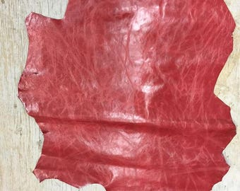 Red Leather Skin, SALE, 0.9-1.1 mm, leather shop, crafts, accessories, bookbinding limited quantities