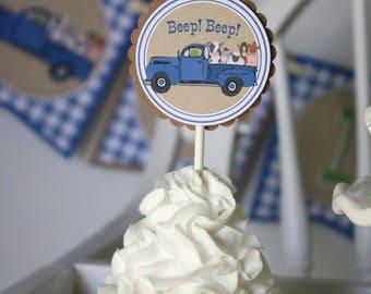 Little Blue Truck Cupcake Toppers - Little Blue Truck Birthday Party - Truck First Birthday Cupcake Picks