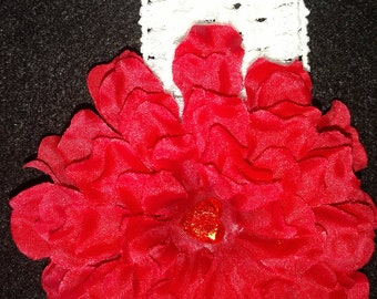 Red flower infant headband