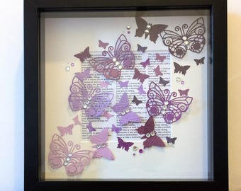 "Unique handmade box frame picture: 3D diecut, punched and embossed ""kaleidoscope"" of graduated colour butterflies, embellished with crystals"