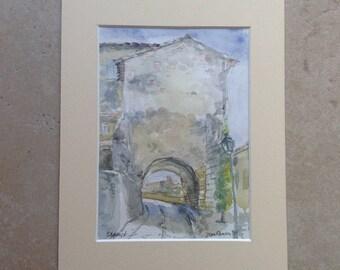 Portal of the kiss Séguret most beautiful village of France Ancient village of Seguret (Provence) watercolor painting original original aquarel