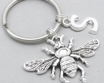 Honey Bee monogram keyring | bee keychain | bumble bee keyring | personalised bee keyring | bee accessory | bee gift | initial letter