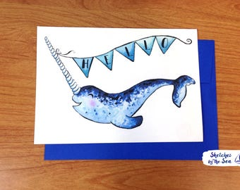 Cute Narwhal Hello Card. Watercolored Nautical Everyday Card