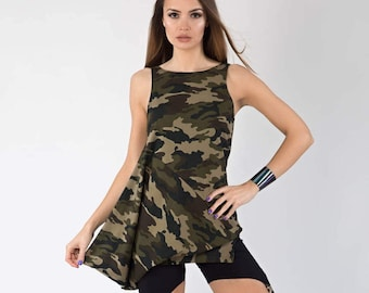 Military Tunic, Military Blouse, Military, Women's Clothing, Military Top, Camouflage, Military T-Shirt, Military Dress, Markiiza, Shirt Top