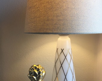 vintage white milk glass lamp with gold accent lines & diamonds