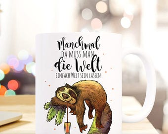 Gift coffee cup sloth chill out relax TS421
