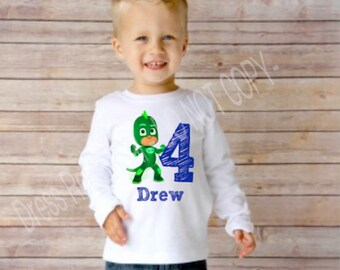 PJ Masks Birthday Shirt with name and number boy or girl