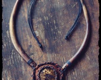 Tribal wooden necklace - Bronzite