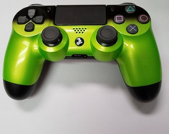 PS4 Controller-Lime Green with Black Fade-Custom Painted