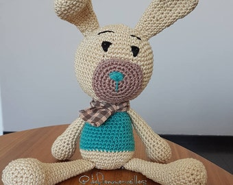 Crocheted doudou rabbit for children and babies