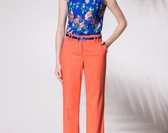 Fashionable blouse, Short sleeve blouse, Blue, Summer blouse, Loose blouse,  Office blouse