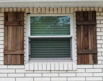 Rustic farmhouse style exterior shutters salvaged poplar wood