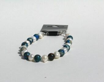 Jasper Bracelet - Freshwater Pearl Bracelet - Something Blue - Under 20 - Beach Bracelet - Wedding Bracelet - Pearl Bracelet - Beach Wedding
