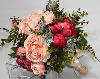 Hot pink peonie and soft pink garden rose faux Bridal Bouquet
