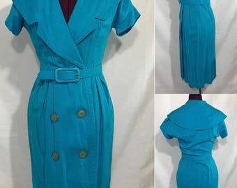 1950's | Blue Day Dress w/Belt