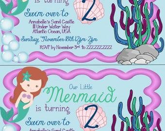 Mermaid Kids Birthday Invitation