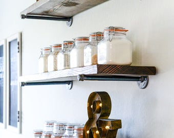 Set of 2 Floating Shelves • Floating Shelf • Wood Shelves • Wood Shelf • Pipe Shelves • Pipe Shelf • Industrial Shelves • Rustic Shelves
