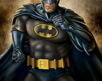 Batman Blue and Grey Batsuit 11x17