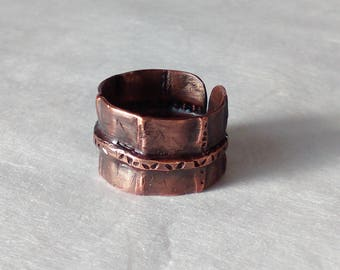 Fold formed ring, wide copper ring, forged copper ring, fold formed wide copper ring