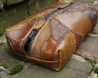 Zag Stitch Leather Patch Dopp Kit