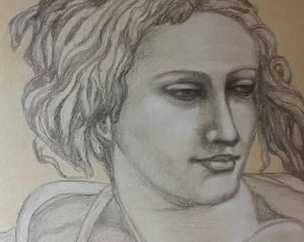 Study drawing of Michelangelo's Ignudi.