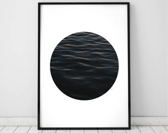 Ocean Water Wall Art Print, Coastal Beach Photography, ModernMinimal, Large Poster, Instant Digital Download, Printable Decor