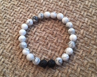 Beaded Stretchy Bracelet; 8mm Howlite Beads; 8mm Black Lava Beads; Beaded Jewelry
