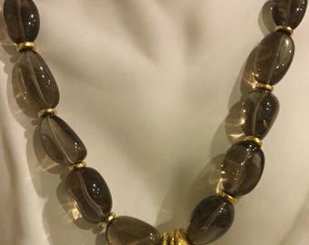 Smoky Quartz With 18 K Vermeil Israeli focal beads.