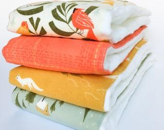 Flannel Cloth Diaper Burp Cloth - Set of 2, 3 or 4 - Gender Neutral