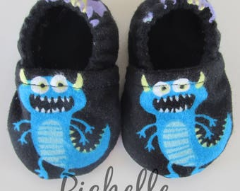 Blue Monster Baby Shoes, Blue Black Baby Shoes, Soft Sole Baby Boy Shoes, Baby Shower Gift