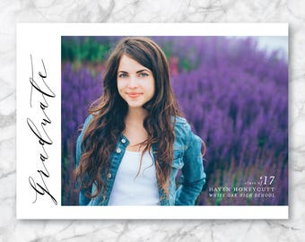Graduation Announcement - Graduation Invitation - Printable Graduation - Printed Card - High School Graduation - College Graduation - Script