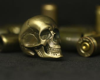 Big Skull - brass and silver bead for paracord knife lanyard and survival bracelet.