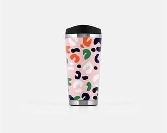 Leopard Travel Mug, Leopard Print, Pink Travel Tumbler, Travel Cup,  Stainless Steel Tumbler, Travel Coffee Cup, To Go Mug, 16 oz