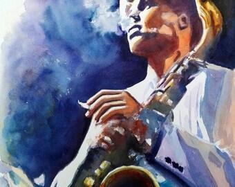 Watercolor Painting Jazz Musician - Dexter Gordon