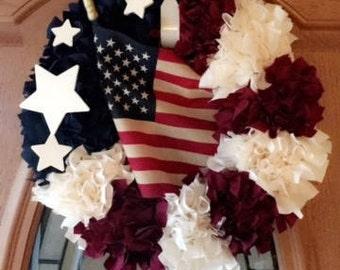 Tea stained Americana Wreath