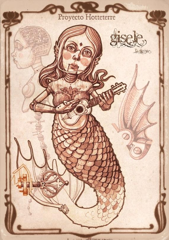 GISELE LA SIRÉNE, Steampunk, Puppet, Mermaid, Steampunk mermaid, Mithology, Myth, Automaton, Steampunk decor, Steampunk art print by francescgrimalt steampunk buy now online