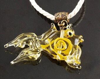 Fish lampwork glass pendant  Golden Fish. Glass Fish Lampwork Focal Bead